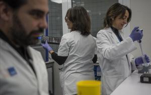 La Dra. Bellosillo (Dcha) y dos de los miembros de su equipo en las tareas dela Unidad de Biopsia Líquida del Hospital del Mar de Barcelona.