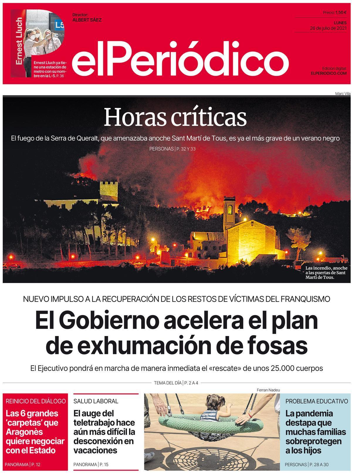 La portada d'EL PERIÓDICO del 26 de juliol del 2021