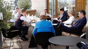 Los mandatarios reunidos en la Cumbre europea.