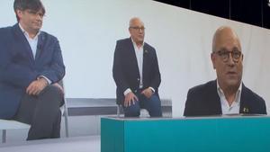 Lluís Puig y Carles Puigdemont, en el acto virtual de presentación del nuevo JxCat.