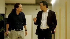 Pablo Iglesias y Pedro Sánchez, durante un encuentro que mantuvieron en marzo del 2016.