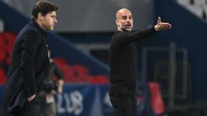 Pochettino y Guardiola, en el partido de este miércoles en París.