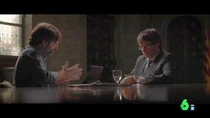 Jordi Évole entrevista al 'president' Carles Puigdemont en el programa de La Sexta 'Salvados'.