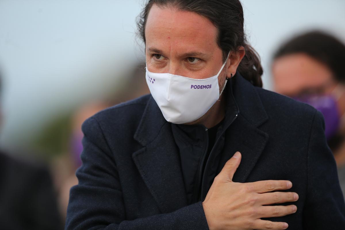 Pablo Iglesias durante el acto de cierre de campaña de Podemos, en Madrid