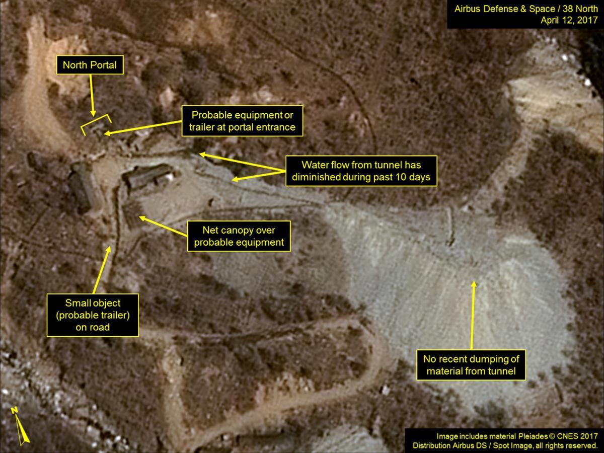Imagen por satélite de la base norcoreana de Punggye-ri tomada el 12 de abril por 38north.org.