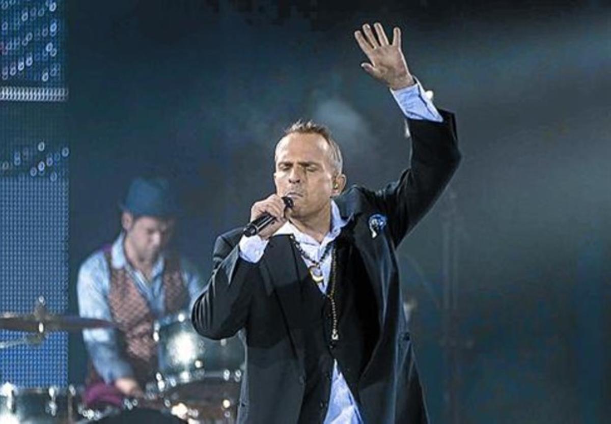Miguel Bosé, el pasado domingo, con 'Papitwo' en Peralada.