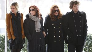 FILE - In this Jan. 8, 2010, file photo, Priscilla Presley, second from left, her daughter, Lisa Marie Presley, second from right, and Lisa Marie's children, Riley Keough, left, and Benjamin Keough, right, take part in a ceremony in Memphis, Tenn., commemorating Elvis Presley's 75th birthday. Keough has died.