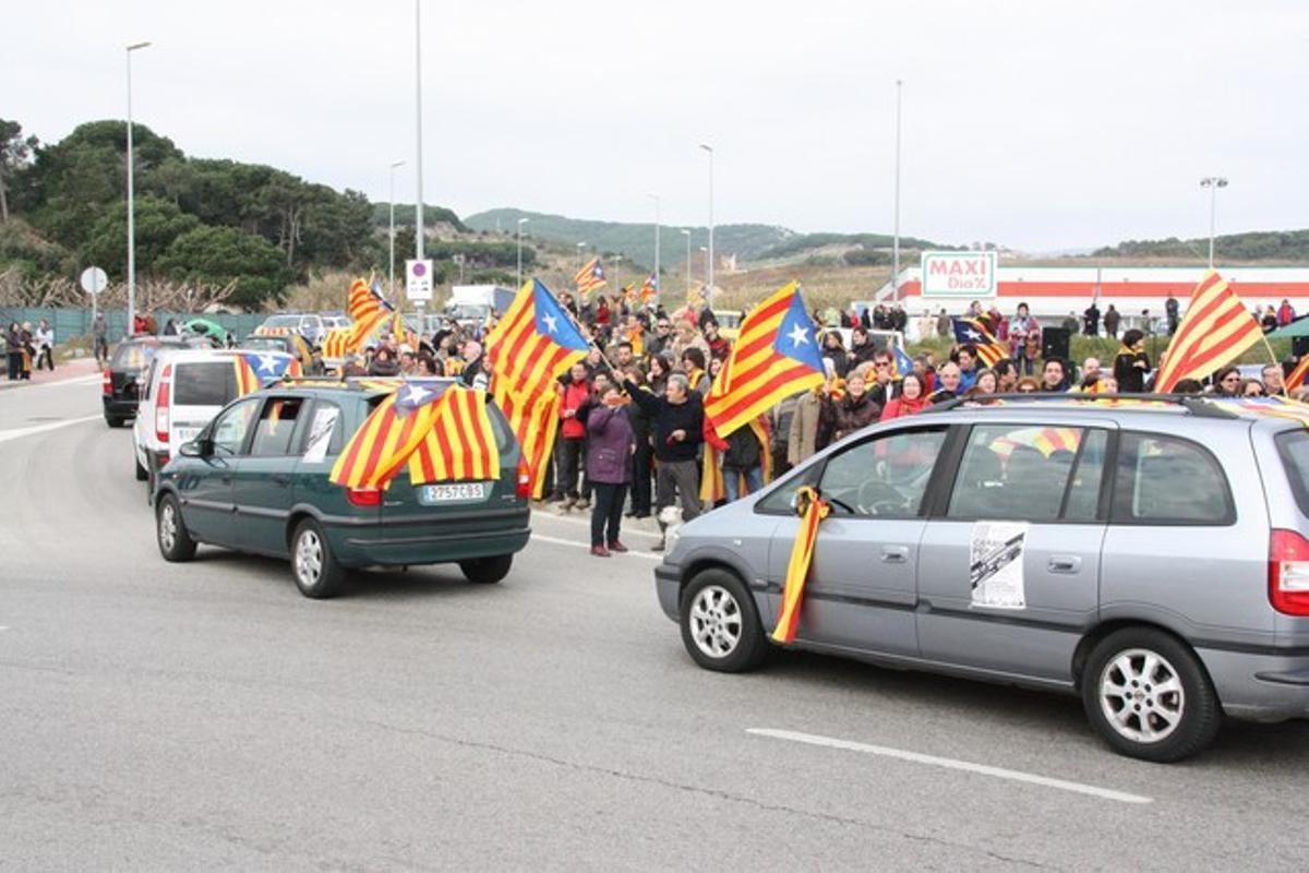 Un momento de la marcha independentista por el Maresme.