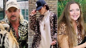Joe Exotic y Carole Baskin (derecha), los archienemigos de 'Tiger King', han vuelto a poner de moda el 'animal print'.