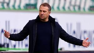 Flick, durante el partido de este sábado contra el Wolfsburgo.