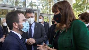 Pere Aragonès y Laura Borràs, en abril del 2021.