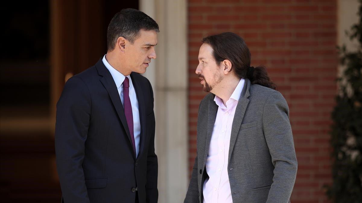 Pedro Sánchez y Pablo Iglesias, en una reunión del 16 de octubre del 2019