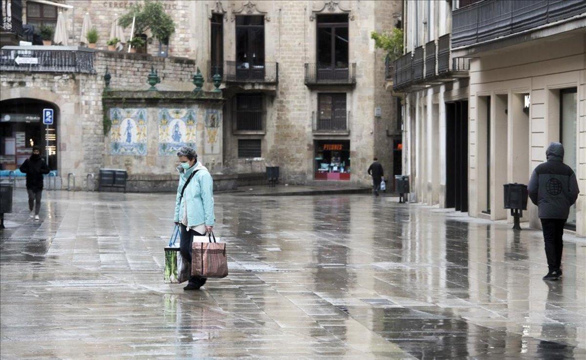 Una imagen del Portal de l'Àngel el pasado 30 de marzo, en la Barcelona confinada.
