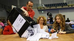 Recompte de vots del referèndum a l'Emirates Arena de Glasgow, Escòcia.