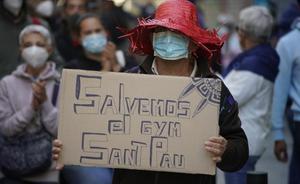 Movilización para salvar el gimnasio Sant Pau, el pasado mes de octubre.
