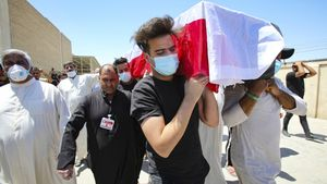 Funeral de Reham Yacoub, este jueves en Basora.