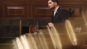 El portavoz de ERC en el Congreso, Gabriel Rufián, durante el debate de los Presupuestos de 2021, este 12 de noviembre en el Congreso.