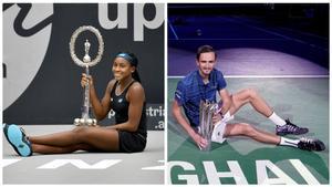 Gauff y Medvedev, con los trofeos de Linz y Shanghái.