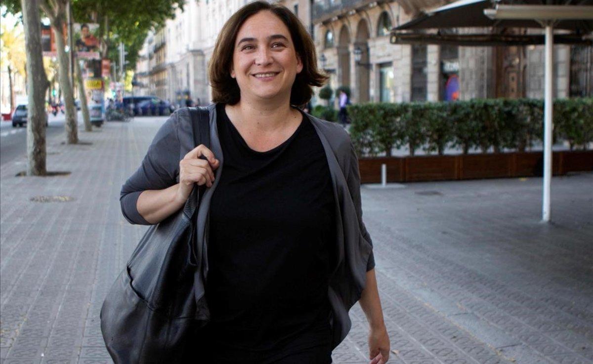 Ada Colau, tras mantener una reunión con Ernest Maragall en un hotel de Barcelona.
