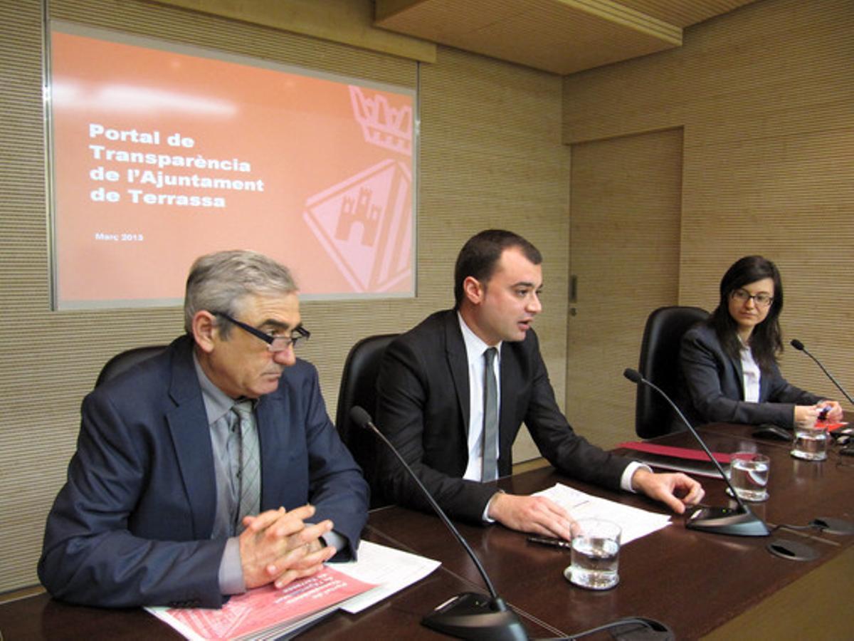 El alcalde de Terrassa, Jordi Ballart, este viernes durante la presentació del Portal de Transparencia.