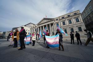 La presidenta de la Federación Plataforma Trans, Mar Cambrollé, acompañada de presidentes y presidentas de colectivos trans y Asociaciones de Familias de toda España, comparecen ante los medios por la Ley Trans y anuncian el inicio de una huelga de hambre.