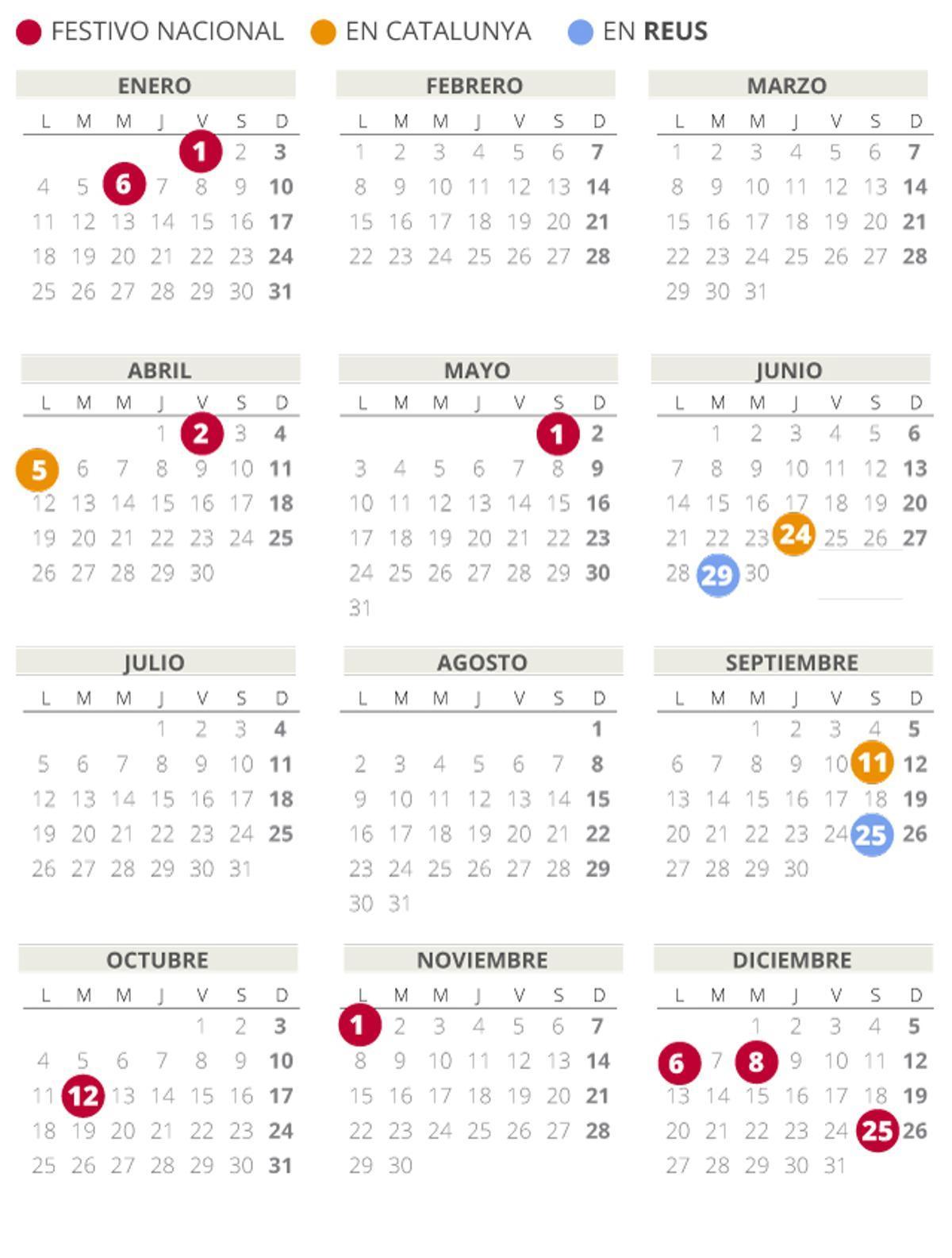 Calendario laboral de Reus del 2021 (con todos los festivos)