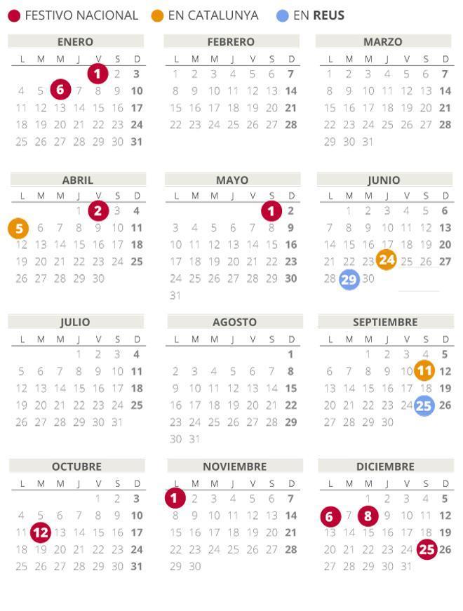 Calendari laboral de Reus del 2021 (amb tots els dies festius)