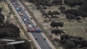 El pelotón de la Vuelta.