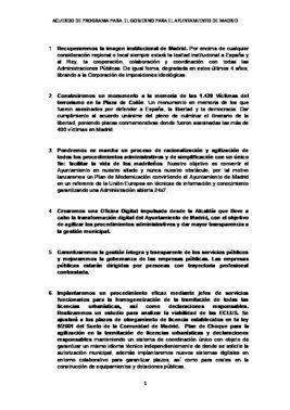 Acuerdo de PP y Vox para el Ayuntamiento de Madrid
