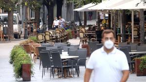 Terrazas de bares en Girona, el 15 de septiembre