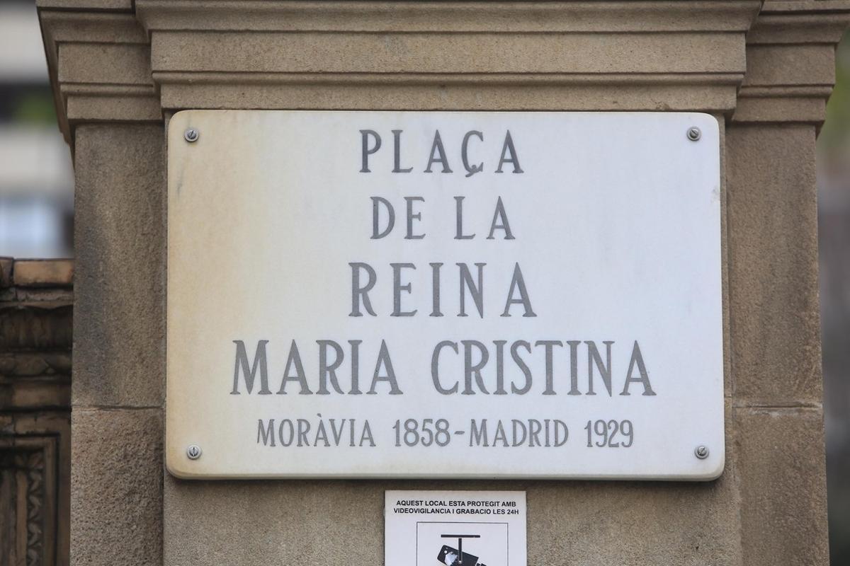 La plaça de la reina Maria Cristina, una de las más de 90 calles con nombre de mujer en Barcelona.