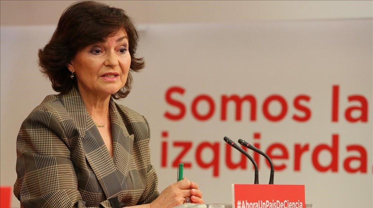 Carmen Calvo, la nueva vicepresidenta del Gobierno, en una rueda de prensa en la sede del PSOE.