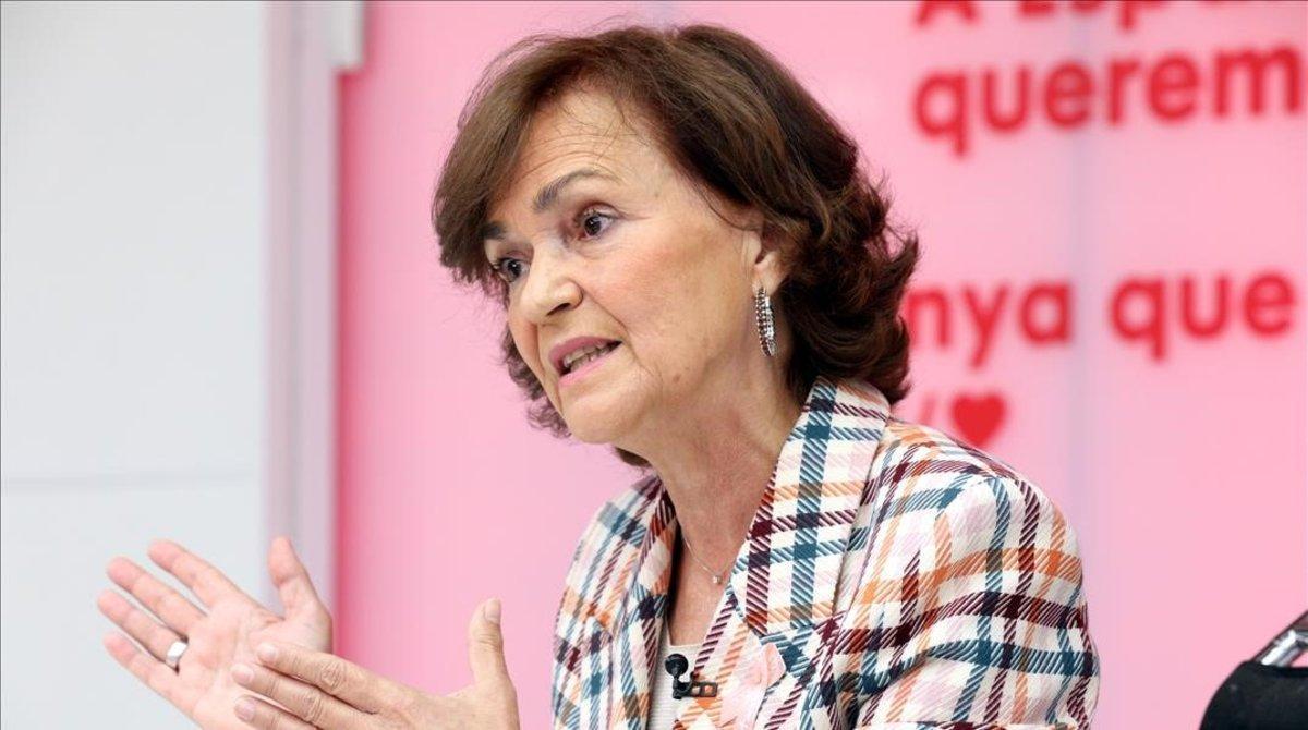 Carmen Calvo, durante un acto del PSOE.