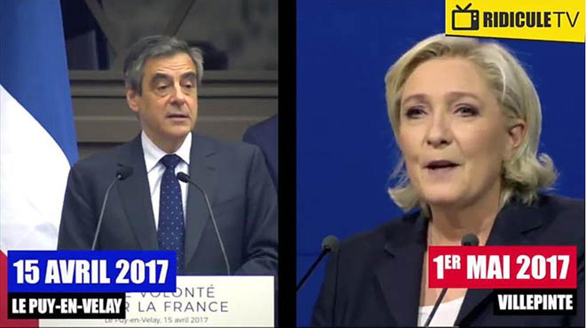 Le Pen plagió en su mitin varios fragmentos de un discurso que había pronunciado François Fillon.