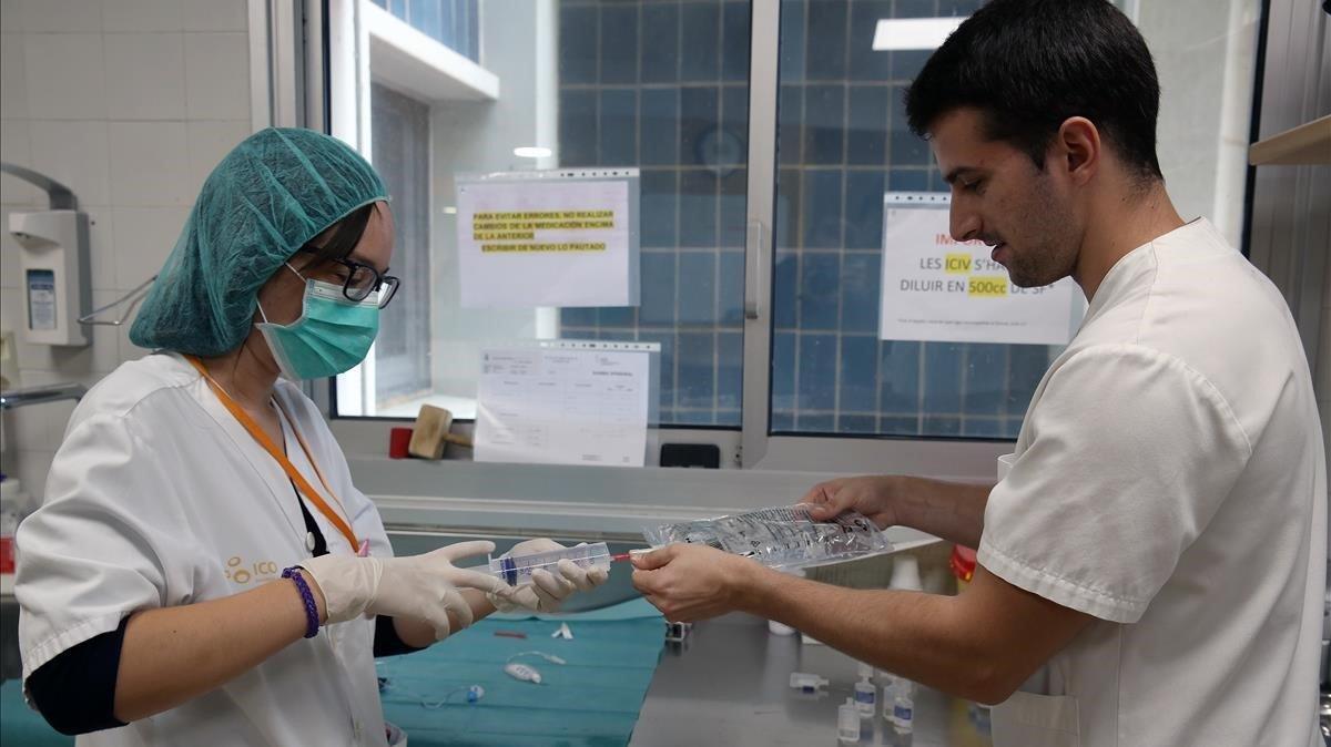 Enfermeras en el Institut Català d'Oncologia (ICO), en una imagen del 2017.