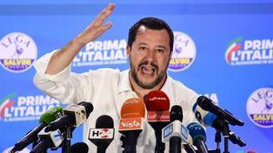 El primer ministro italiano, Matteo Salvini, durante una rueda de prensa en la sede de la Liga, este lunes.