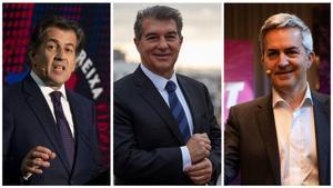 Los candidatos a la presidencia del Barça: Toni Freixa, Joan Laporta y Víctor Font.