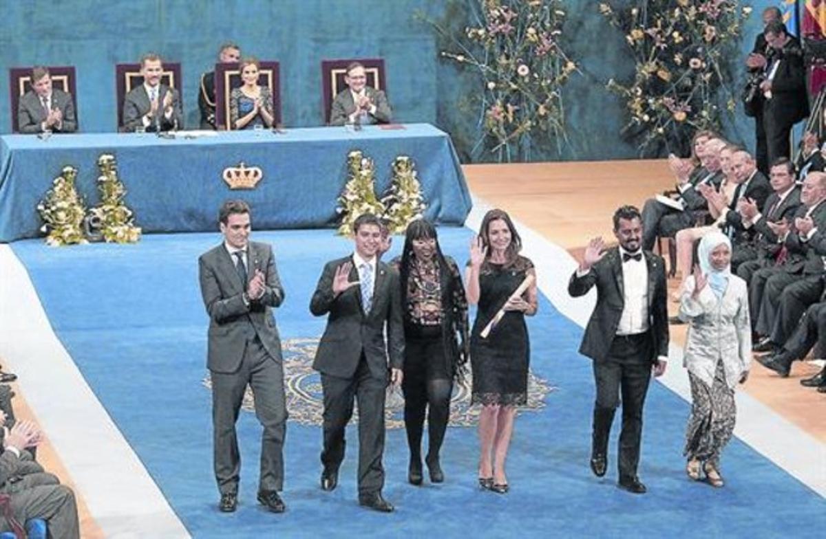 Concesión del Príncipe de Asturias de Cooperación Internacional al programa Fulbright, ayer en Oviedo.