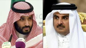 El príncipe heredero de Arabia Saudí, Mohamed bin Salman, (izquierda) y el emir de Catar, Tamim bin Hamad Al-Thani.