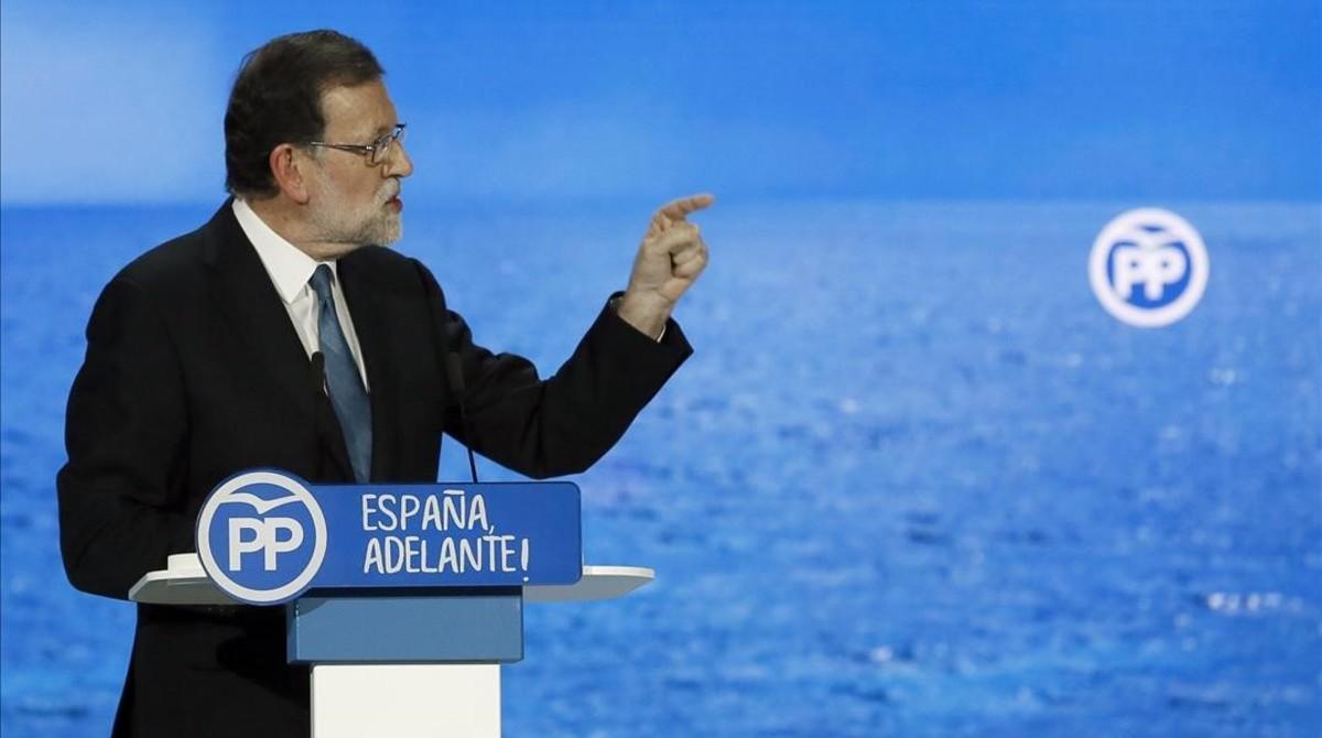 Mariano Rajoy, durante su intervención de este sábado en el congreso del PP.