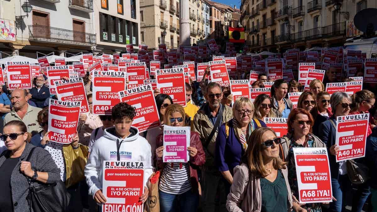Manifestación convocada en varias localidades de la España Vaciada, en Teruel, en una imagen de archivo.