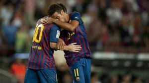 Thiago Alcántara y Leo Messi se felicitan tras un gol del argentino al Villarreal.