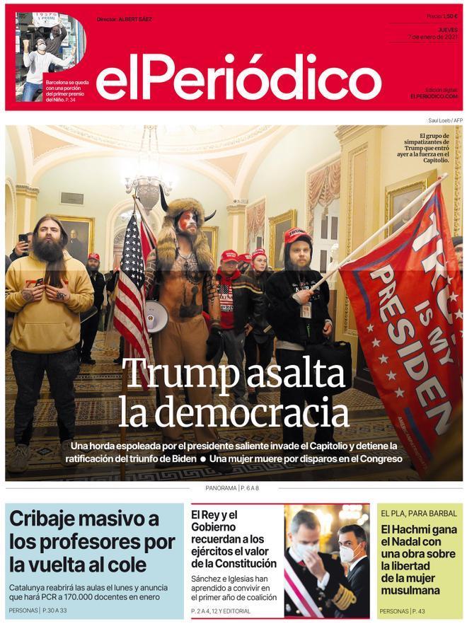 La portada de EL PERIÓDICO del 7 de enero del 2021