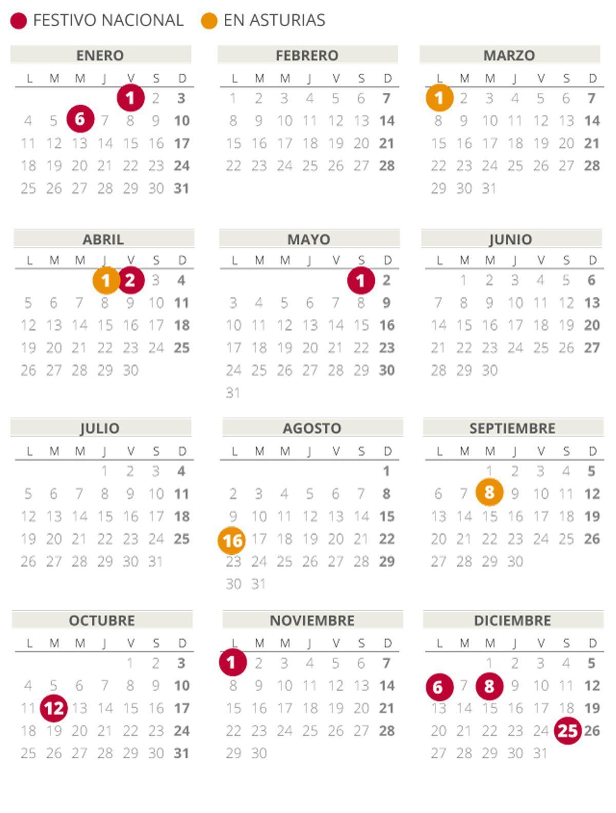 Calendario Laboral Asturias 2021 Con Todos Los Festivos