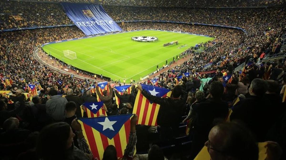 Imagen del Camp Nou en el partido frente al Bate Borisov.