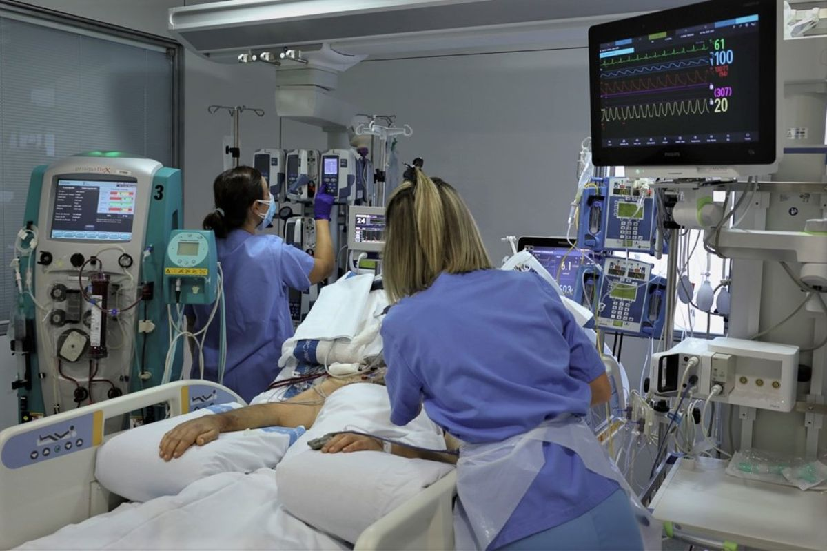 Una UCI del Hospital Universitari de Bellvitge de L'Hospitalet de Llobregat.