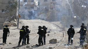 Soldats israelians en els enfrontaments a Jerusalem Est contra palestins