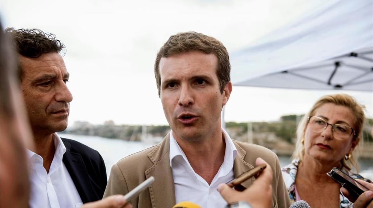 El líder del PP, Pablo Casado, este jueves en Mahón.