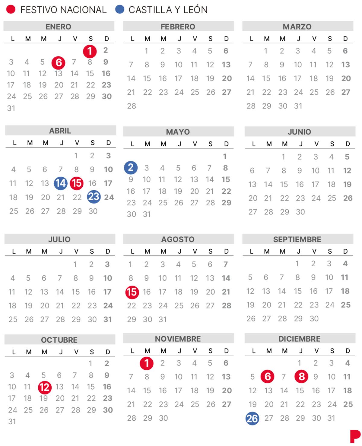 Calendari laboral de Castella i Lleó del 2022 (amb tots els dies festius)