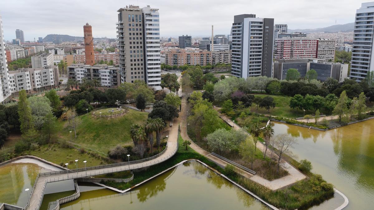Vista del parque de Diagonal Mar, en Barcelona, la semana pasada